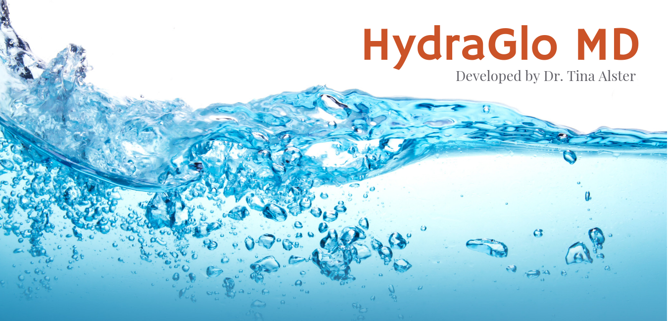 """Close up of water with logo that says """"HydraGlo MD"""""""